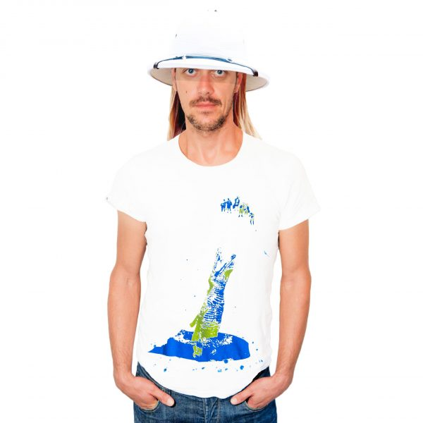 Johnny Label and crocodile eats tourist t-shirt